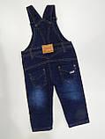 Полукомбинезон джинсовый на флисе для мальчика р.80 ТМ Бемби, фото 2