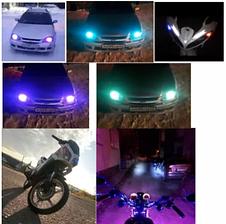 Яркие! LED RGB лампы стробоскоп Пульт RGB T10 W5W ДХО Габарит автомото, фото 2