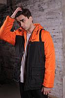 Мужская весенняя парка в стиле Nike (black/orange), парка найк весна, Реплика ААА, фото 1