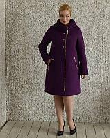 Женское пальто с воротником имитацией вязки рр 50-56, фото 1