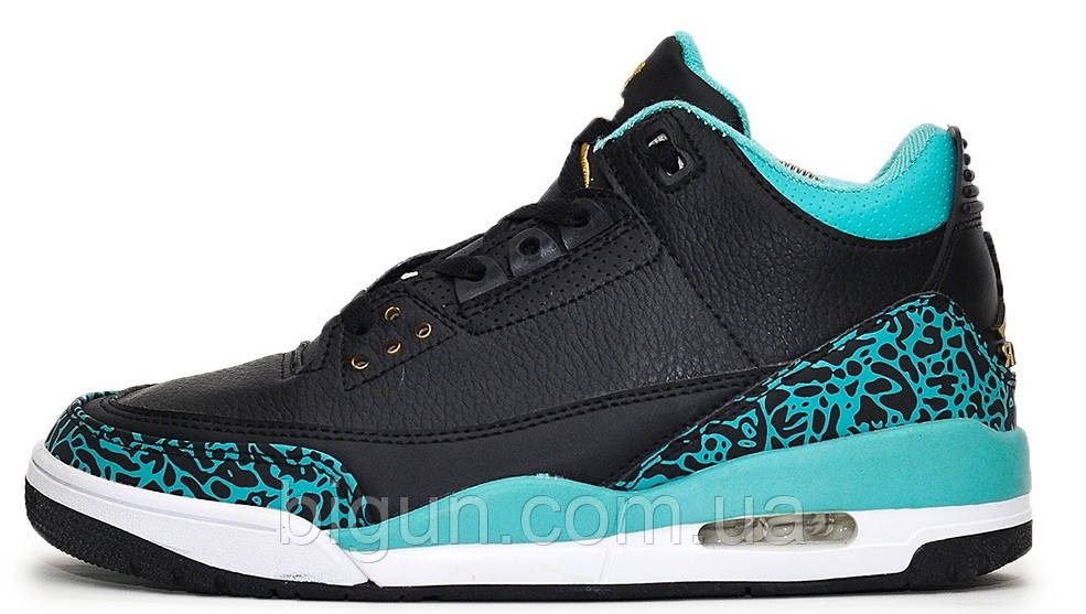 21f13672f3b514 Баскетбольные кроссовки Nike Air Jordan 3 Retro Black Blue (найк аир  джордан 3, черные