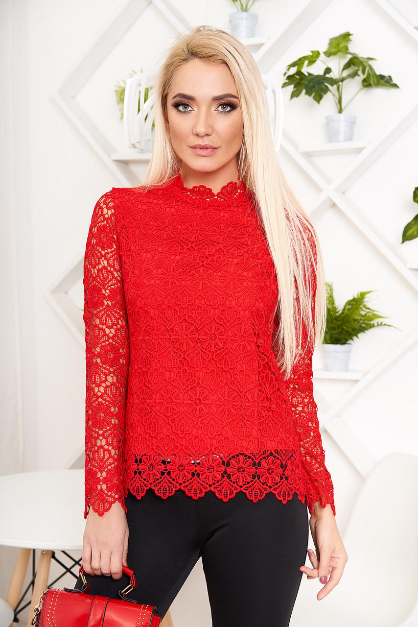 Красивая блузка гипюровая красная