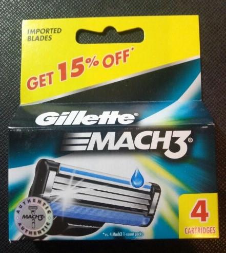 Сменные кассеты Gillette Mach3 - 4 шт (Оригинал)