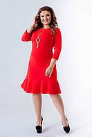 Яркое женское платье с воланом батал, фото 1