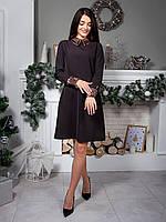 Шикарное платье А-силуэта с воротником и манжетами из двухсторонних пайеток. Арт.2501