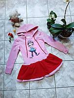 Сукня з  лялькою лол з двонитки різні кольори Детское платье ручная роспись