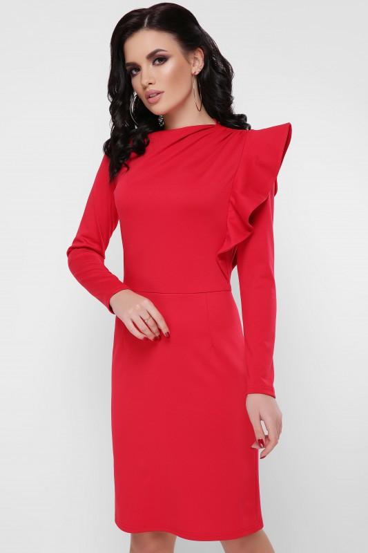 Коктейльное женское платье с пышной рюшей (3 цвета)