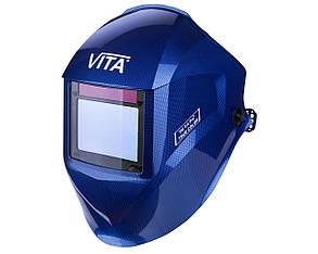 Сварочная маска хамелеон 3-A Pro TrueColor (цвет металлические соты синие), фото 2
