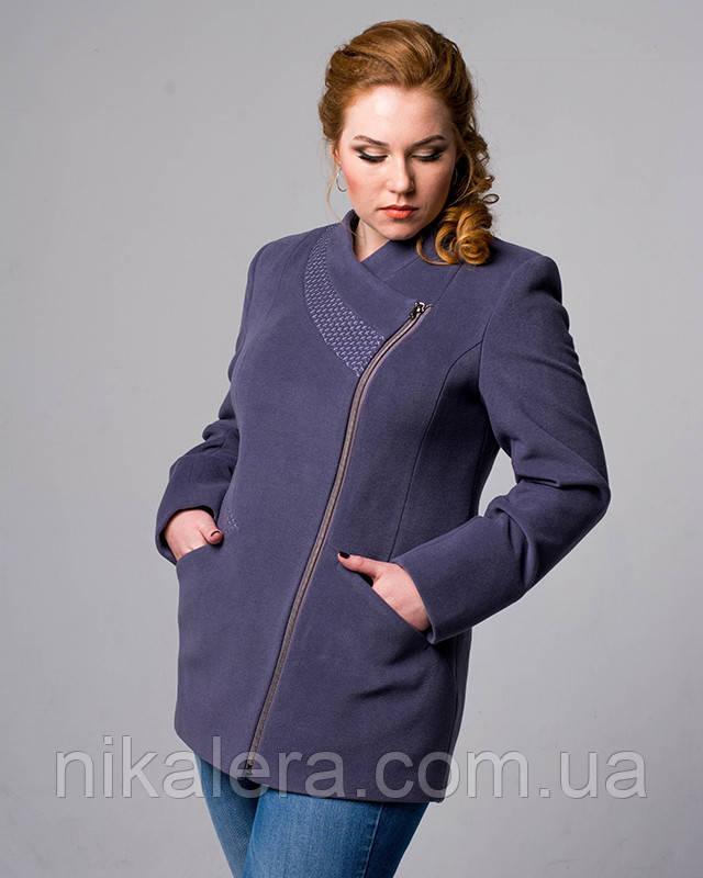 Корткое пальто на молнии рр 48-56