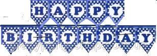 Гирлянда  Happy birthday  синяя в горошек 1,6 м