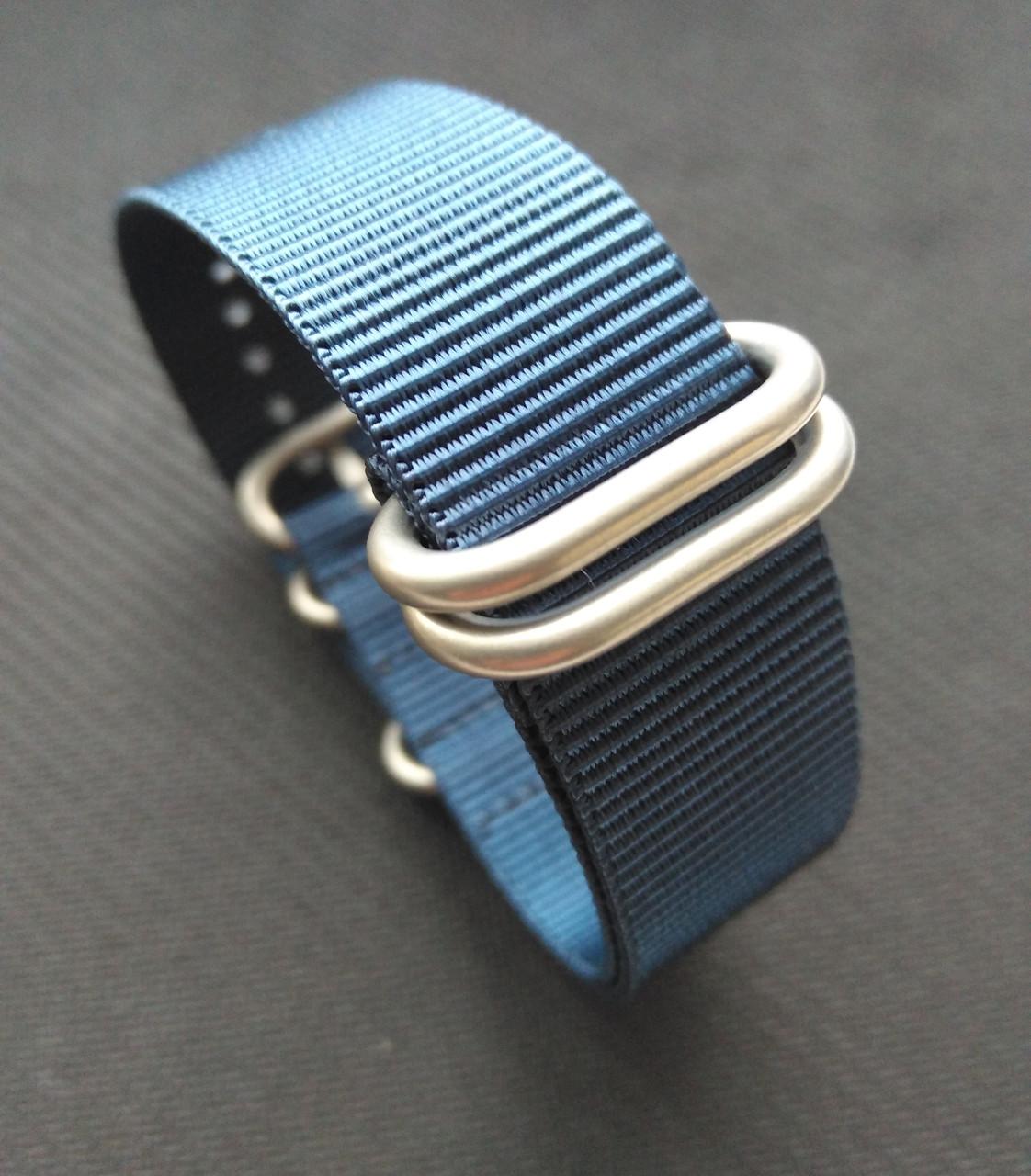 Ремешок нейлоновый для часов. Зулу, Zulu, Нато, Nato. Синий. 22 мм. Качество.