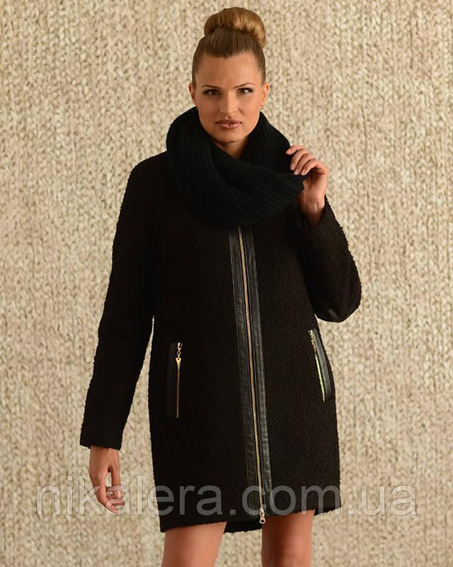 Пальто из буклированного материала с хомутом рр 44-54