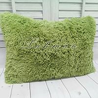 Чехол для подушки травка  50х70 см. | Декоративные пушистые наволочки для интерьера цвет фисташковый