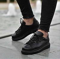 Мужские кроссовки Алекс McQueen черные топ реплика