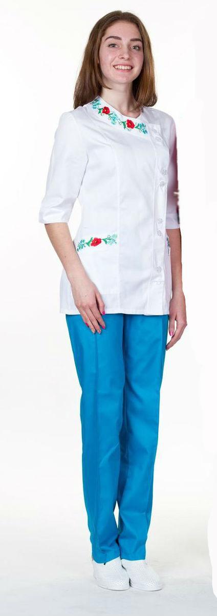 Жіночий медичний костюм з вишивкою х/б, велика різноманітність кольорів, р. 40-60