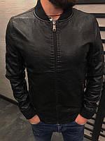 Мужская кожанная куртка-бомбер