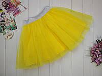 Желтая фатиновая юбка для девочки 2-9 лет