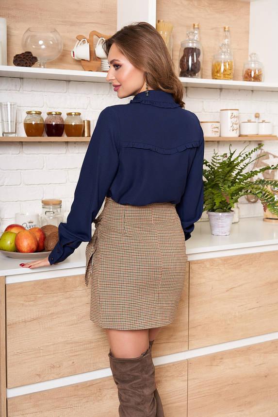 Модная блузка-рубашка с рюшами синяя, фото 2