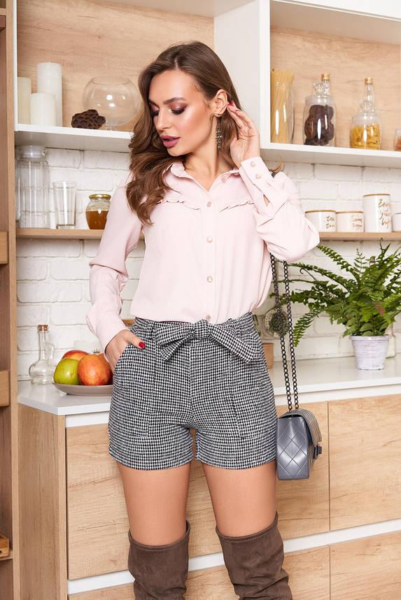 Модная блузка-рубашка с рюшами пудра, фото 2