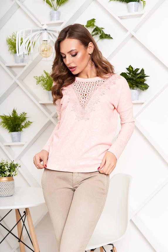 Нарядная блузка с гипюром и кружевом пудра, фото 2