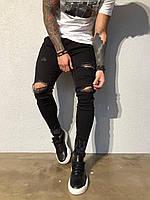 😝 Джинсы - Мужские штаны рваные (черные) ад4414