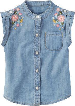 Рубашка джинсовая детская с вышивкой от бренда Carter's (США), размер 6X