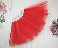 Красная фатиновая юбка для девочки 2-9 лет