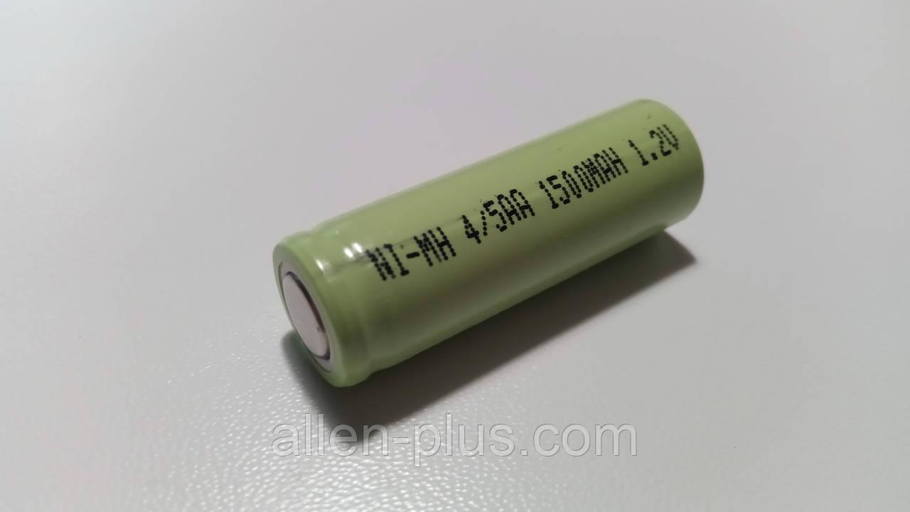 Акумулятор 4/5AA 1,2 V Ni-MH 1500mAh, під пайку / зварювання, плоский плюс, розмір 14 мм x 43 мм