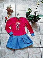 Сукня з  лялькою лол з двонитки з джинсовою спідницею різні кольори Детское платье джинс двунить роспись