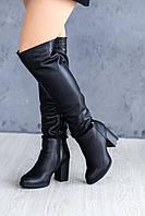 Кожаные ботфорты на каблуке зима