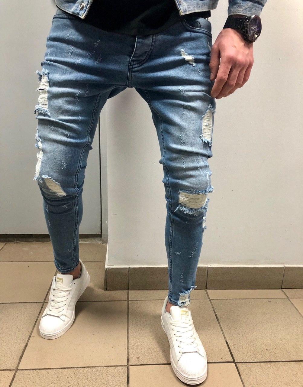 07253421e71 Мужские светлые джинсы рваные с подшитыми дырками - Магазин с Кэшбэком 😘  apolloShop.com.