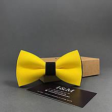 Галстук-бабочка I&M Craft двухцветный жёлтый с чёрным (00033)