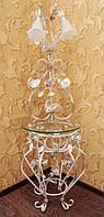 Белый торшер с золотом и стеклянной полочкой 1115/2 W