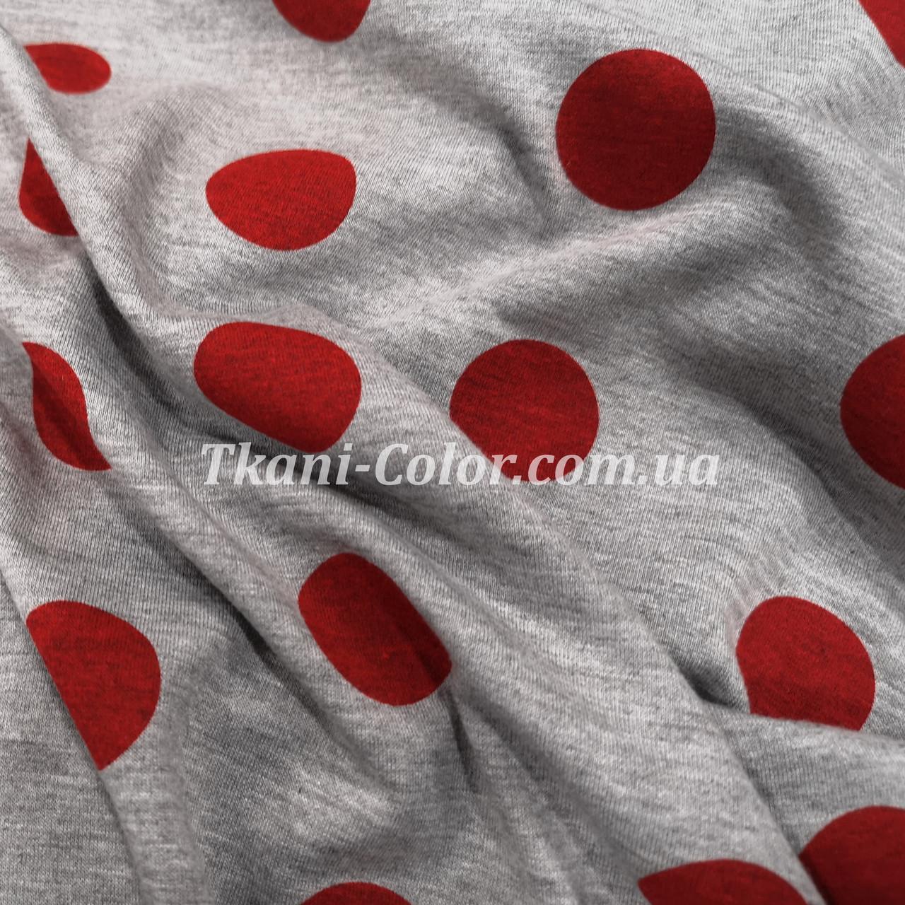 Футер двунитка принт бордовый горох на сером (180 см)