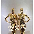 Манекен женский хромированный золотой, фото 2