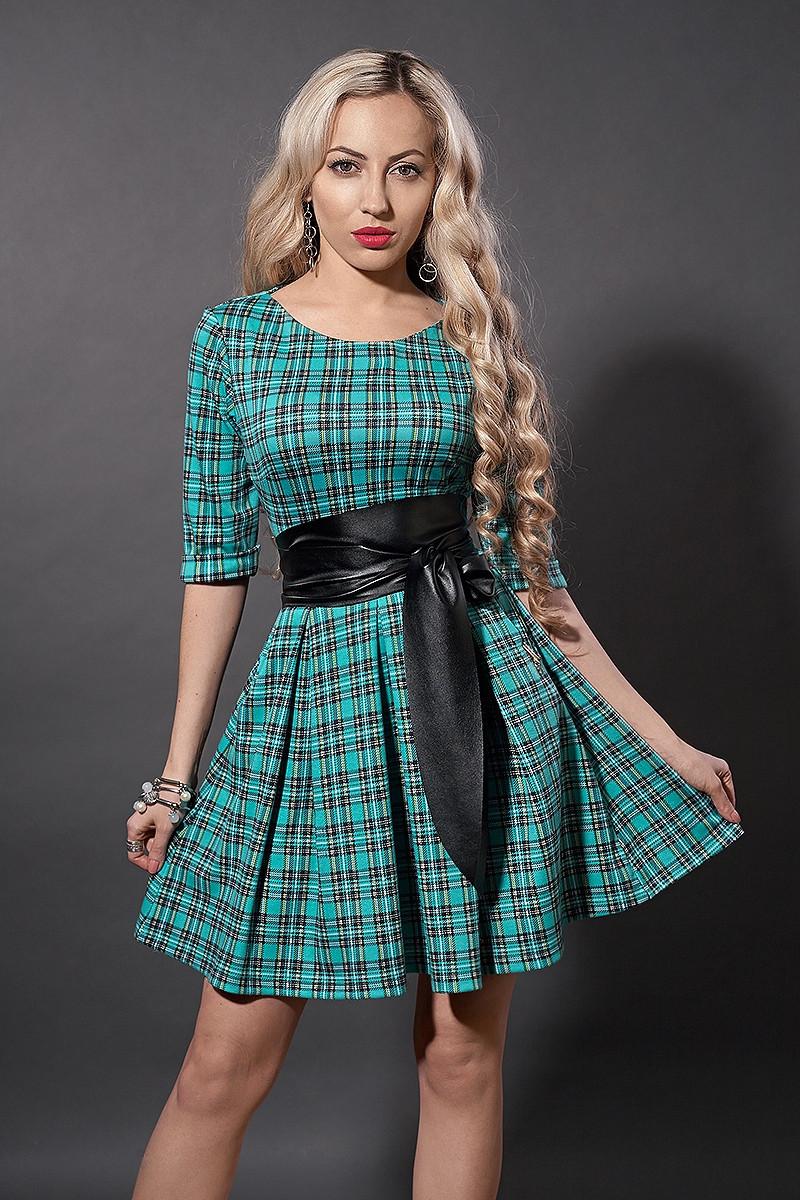 Платье мод 373-12 размер 44,46 бирюза мелкая клетка