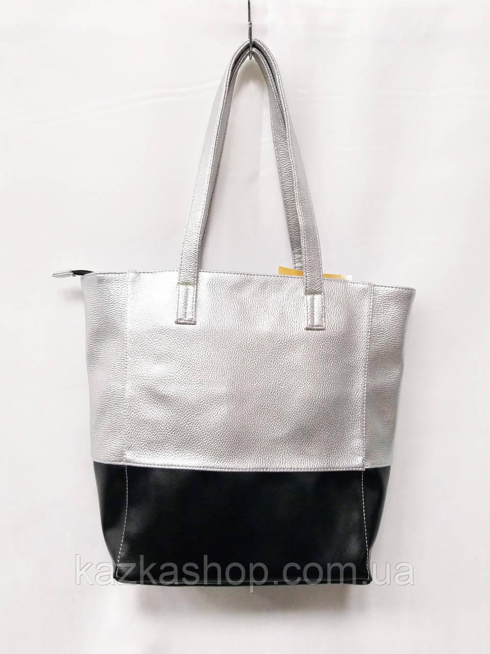181bb546f443 Женская сумка шоппер серого цвета с черной вставкой украинского  производителя арт. 165 - Интернет магазин