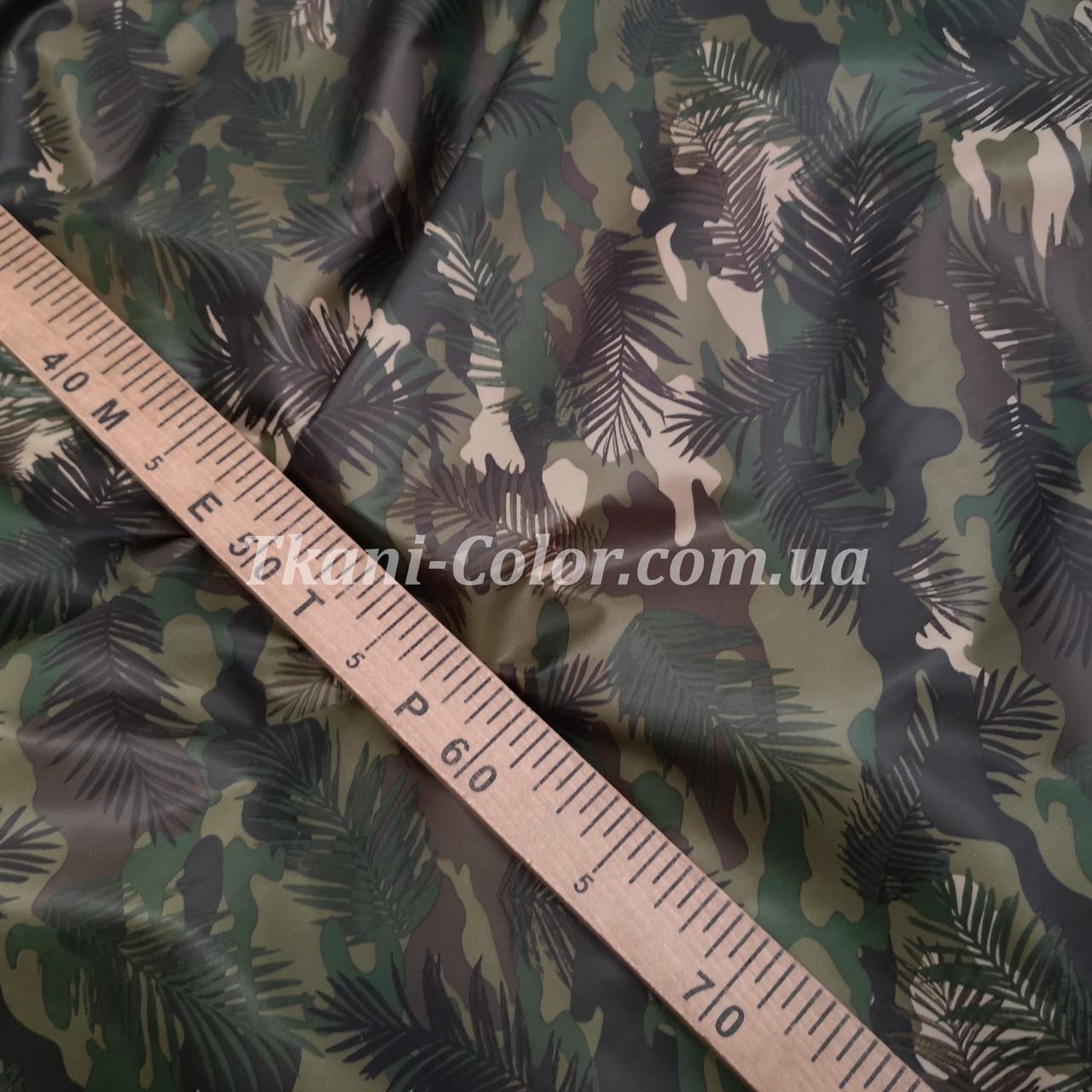 Плащевая ткань лаке принт камуфляж с листьями