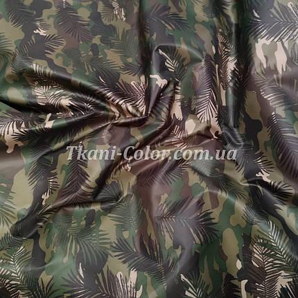 Плащевая ткань лаке принт камуфляж с листьями, фото 2