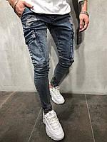 Джинсы мужские синие рваные / ЛЮКС КАЧЕСТВО / Мужские джинсы синие карго / Мужские джинсы зауженные рваные