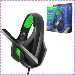 Игровые наушники с микрофоном Gemix X-350 Gaming Black/Green, игровая гарнитура
