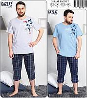 Комплект мужской домашний большого размера из футболки и капри