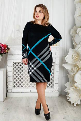 Черное вязаное теплое платье для полных Николь, фото 2