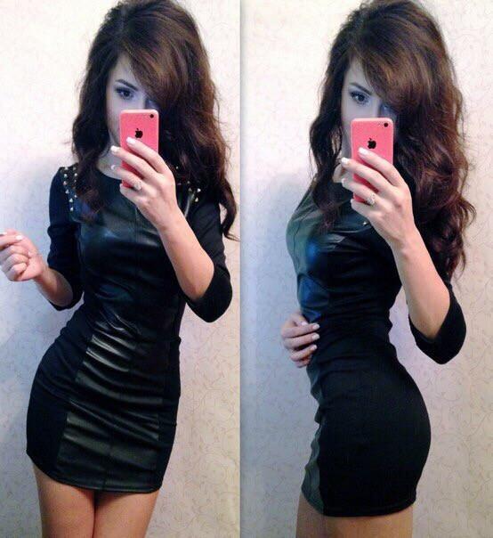 Платье кожа с шипами