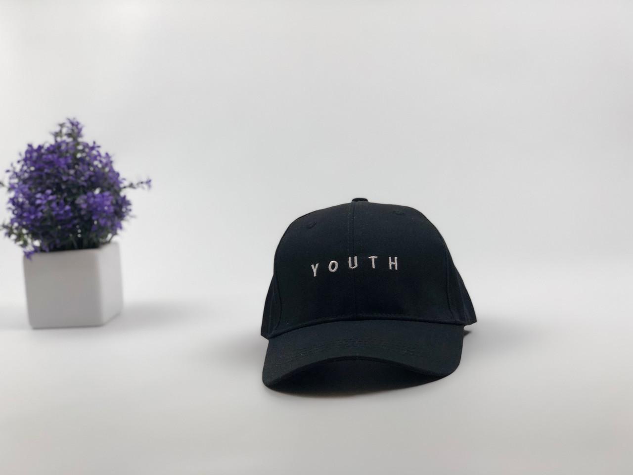Кепка бейсболка Youth (черная) застежка пластик