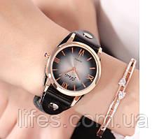 Женские часы • Черный кожаный ремешок 888