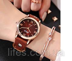 Женские часы Коричневый кожаный ремешок