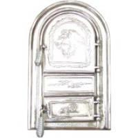 Дверцы чугунные для печи и барбекю Левенок хром овальные , дверки печные, фото 1