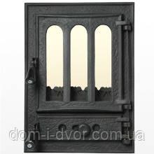 """Дверцы печные чугунные со стеклом ,дверки для камина """"Перегородка №2"""""""