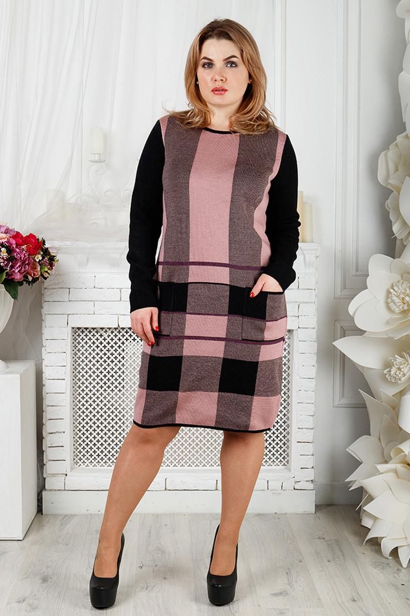 b05ec00ad09 Вязаное теплое платье для полных Стрелочка - V Mode